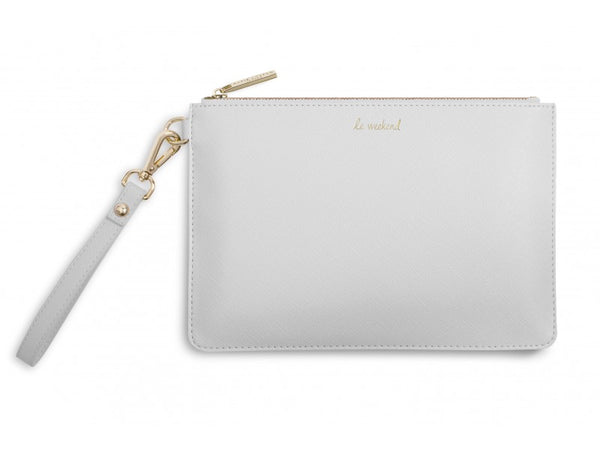 Katie Loxton Secret Message Pouch - Le Weekend / Dear Weekend, I Like You, Love Me x (Grey)