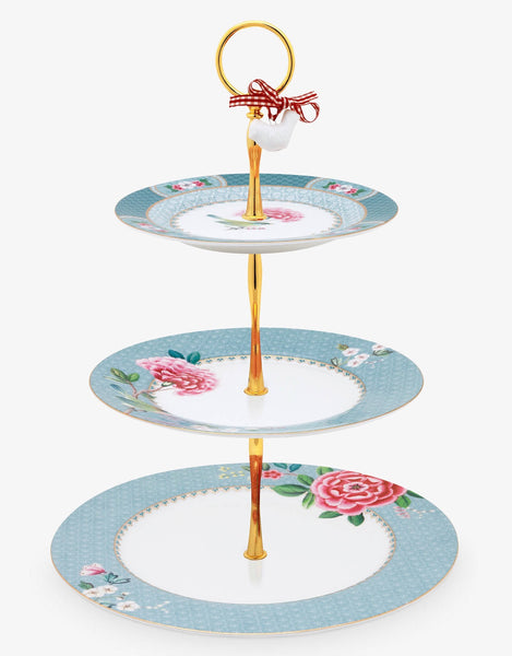 PiP Studio Blushing Birds 3-Tier Cake Stand - Blue