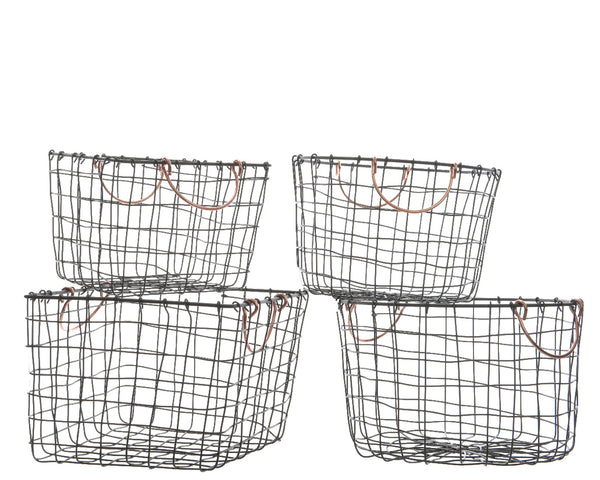 Set of 2 Iron Baskets with Copper Handles - Square/Circle