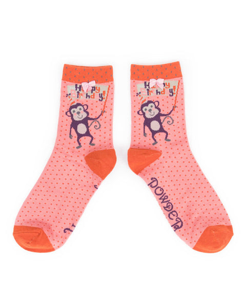 Powder Birthday Monkey Ankle Socks