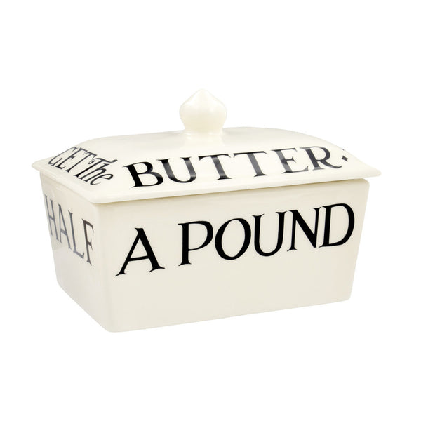 Emma Bridgewater Black Toast Small Butter Dish - Half a Pound of Best Butter