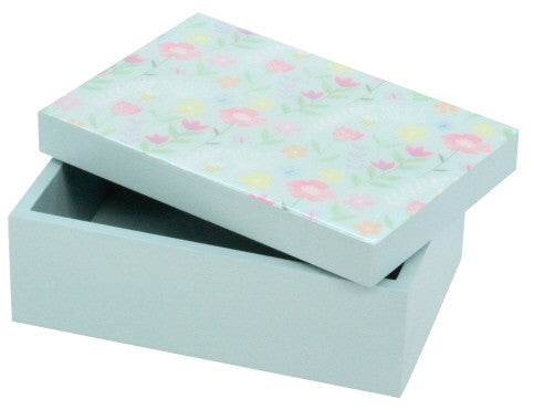 Gisela Graham Pastel Flower Blue Wooden Box