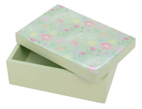 Gisela Graham Pastel Flower Green Wooden Box