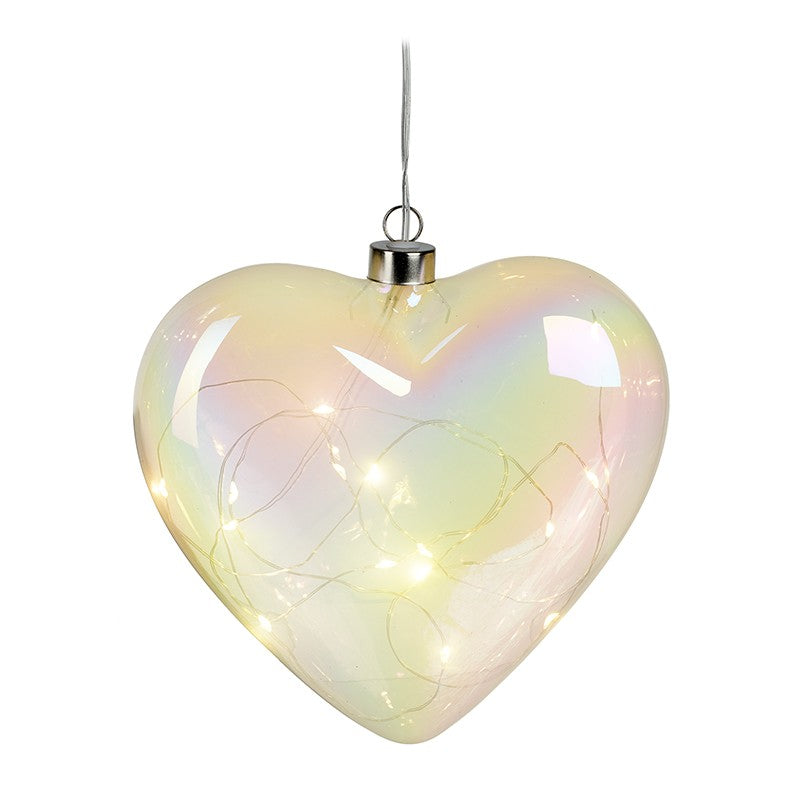 Hanging Glass Light Up Pearlescent Heart