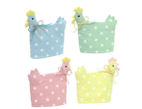 Gisela Graham Polka Dot Hen Egg Cosy - Blue / Green / Pink / Yellow