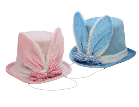 Gisela Graham Top Hat with Bunny Ears - Pink / Blue