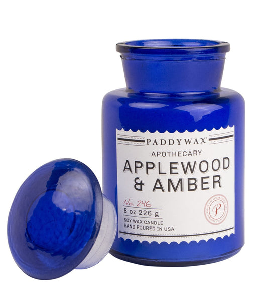 Paddywax Blue Apothecary Applewood & Amber Candle (8oz.)
