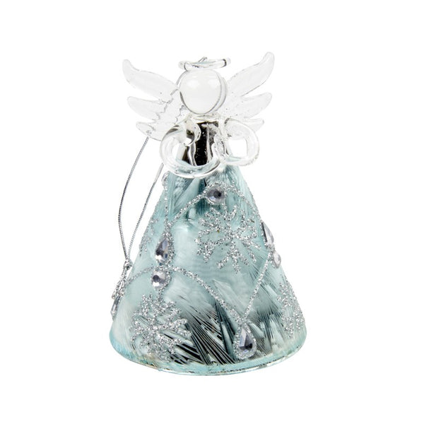 Glass Angel With Skirt Detail Hanging Decoration