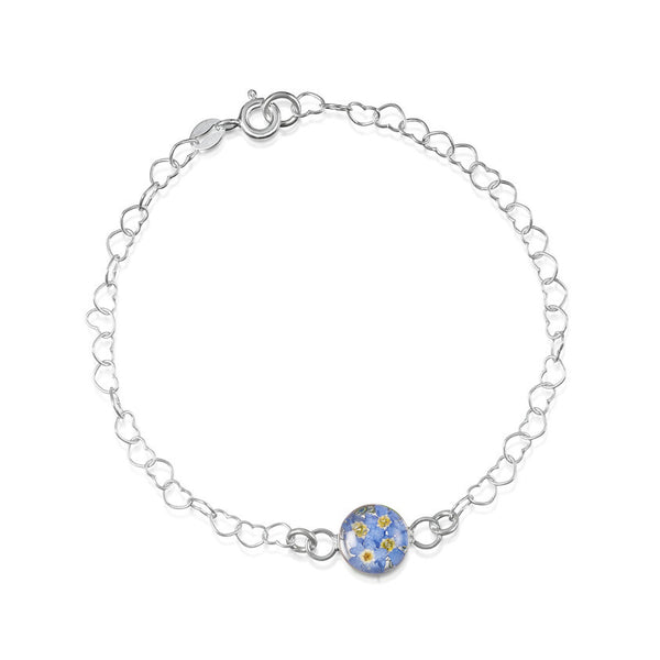 Shrieking Violet Forget-Me-Not Heart Link Bracelet