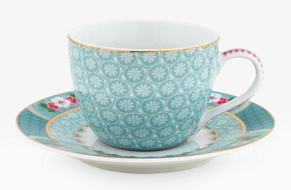 PiP Studio Blushing Birds Espresso Cup & Saucer - Blue