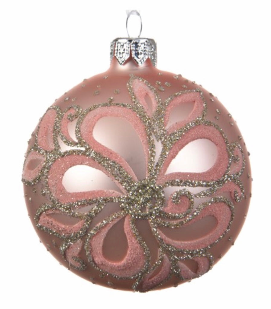 Plush Pink Flower & Glitter Bauble