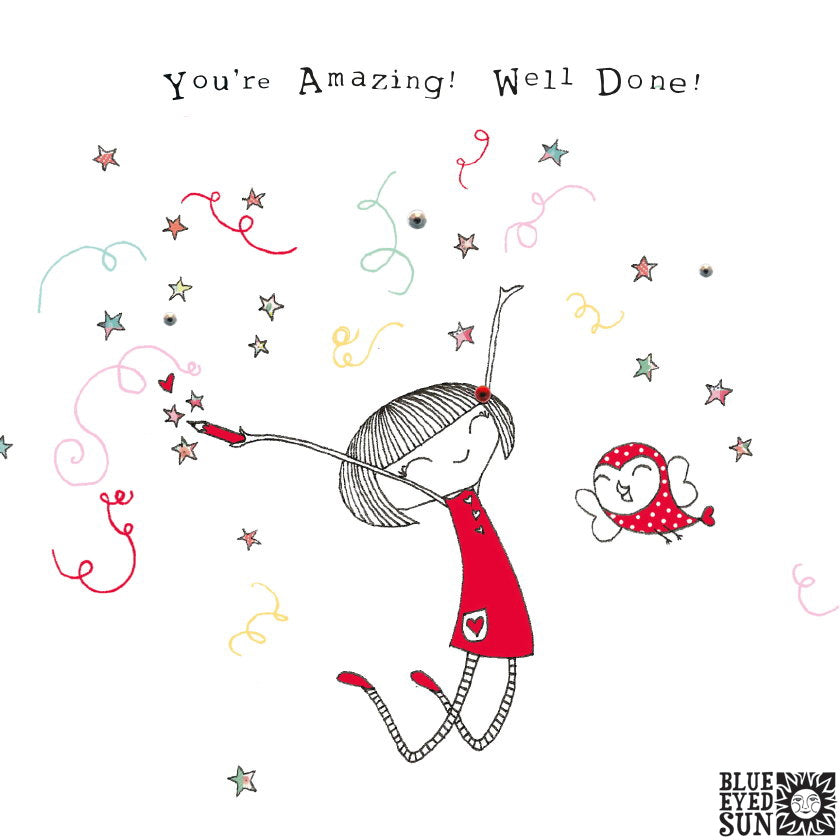 Doodle Girl Card - Well Done