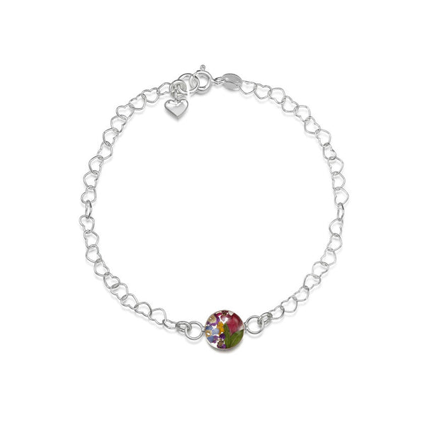 Shrieking Violet Mixed Flower Heart Link Bracelet