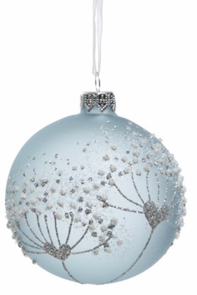 Blue Mist & Glitter Flower Bauble