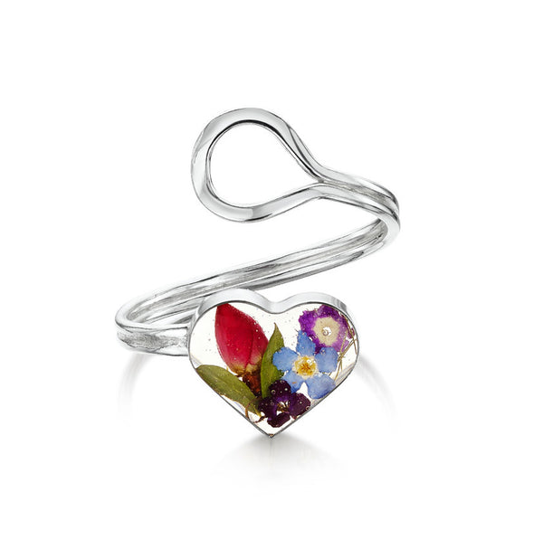 Shrieking Violet Mixed Flower Adjustable Heart Ring