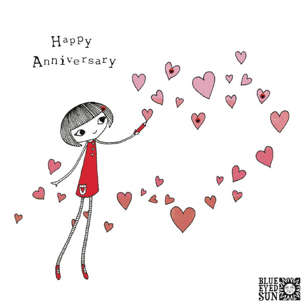 Doodle Girl Card - Happy Anniversary