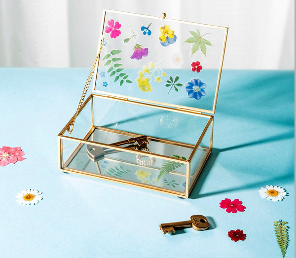 Sass & Belle Pressed Flowers Glass Jewellery Box