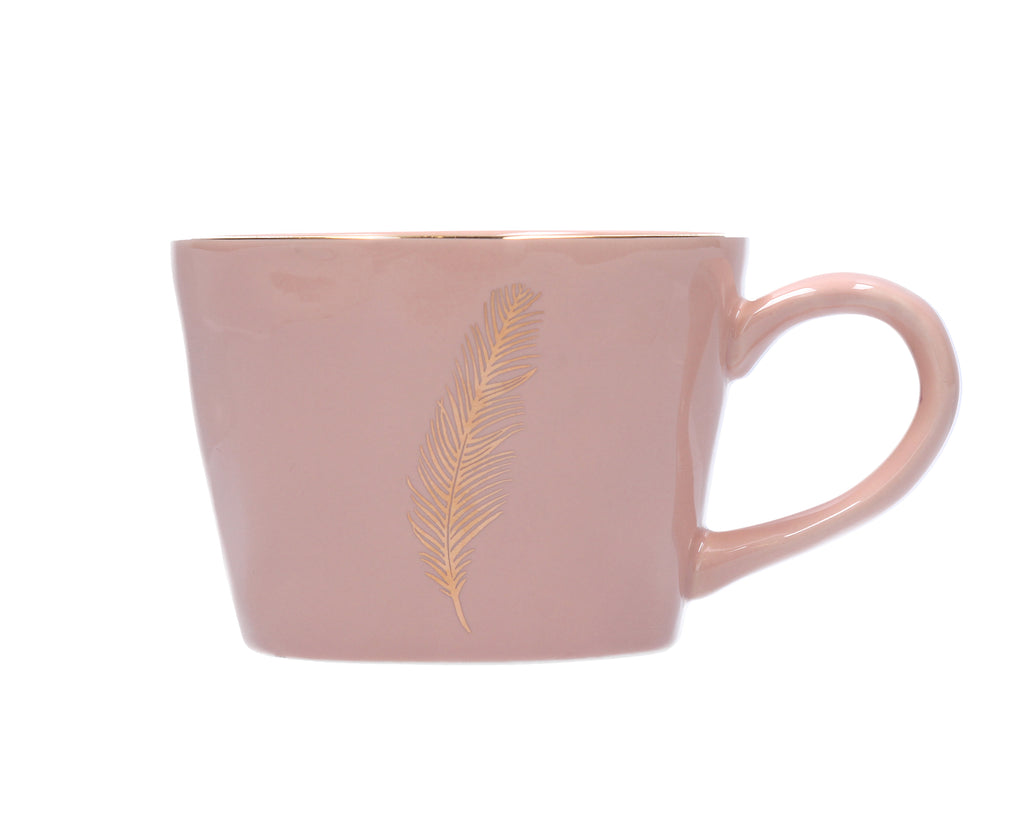 Gisela Graham Artisan Mug With Gold Feather