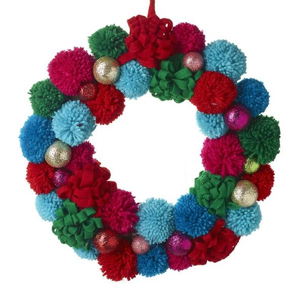 Bright Pom Pom Wreath