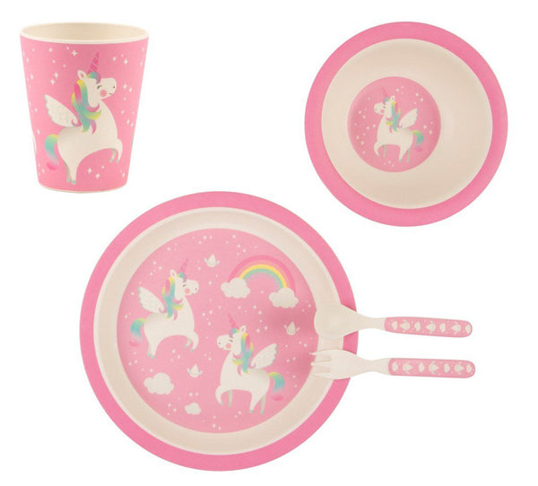 Sass & Belle Rainbow Unicorn Bamboo Children's Dining Set