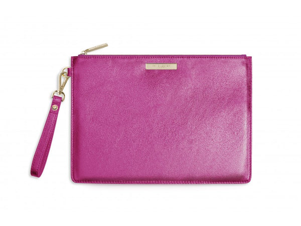 Katie Loxton Luxe Clutch Bag - Metallic Pink