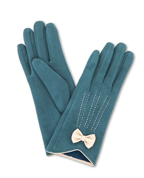 Powder Beatrice Faux Suede Gloves - Teal