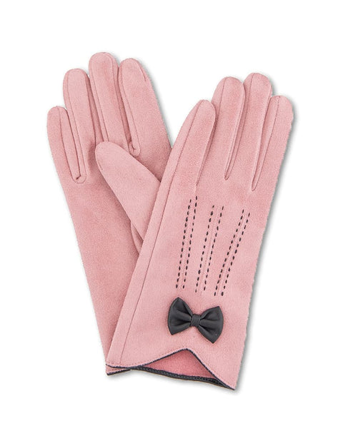Powder Beatrice Faux Suede Gloves - Candy Pink