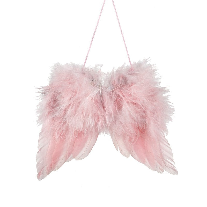 Pink Feather Hanging Wings - Large