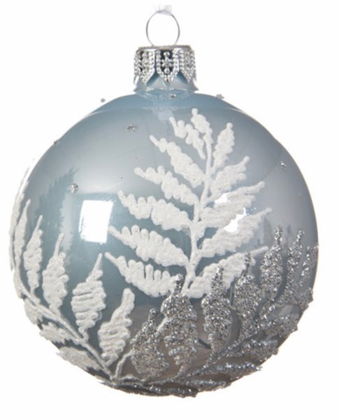 Blue Mist & Glitter Fern Leaf Bauble