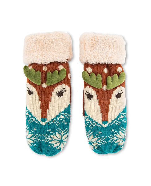 Powder Cosy Reindeer Mittens - Rust/Teal