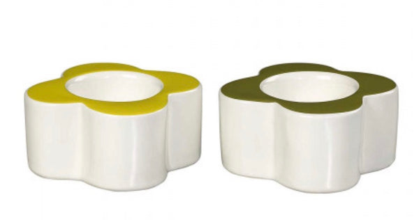 Orla Kiely Oval Flowers Egg Cup, Seagrass & Sunshine Yellow, Set of 2