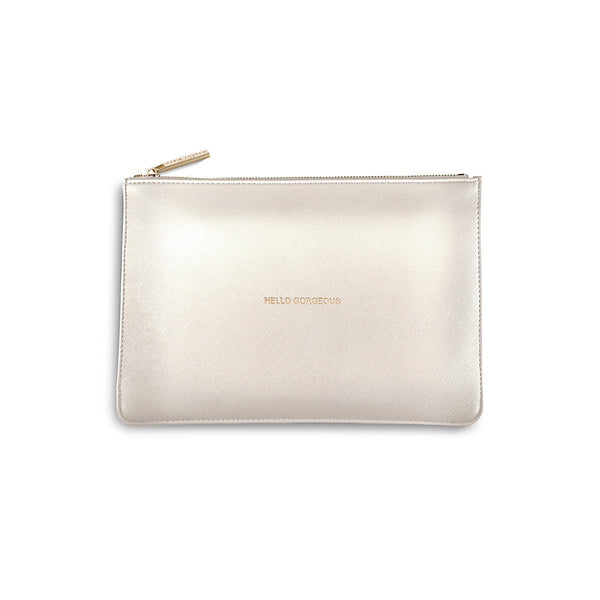 Katie Loxton Perfect Pouch - Hello Gorgeous (Metallic White)