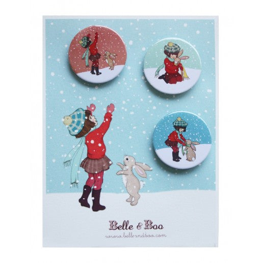 Belle & Boo Catching Snow Christmas Badge Set