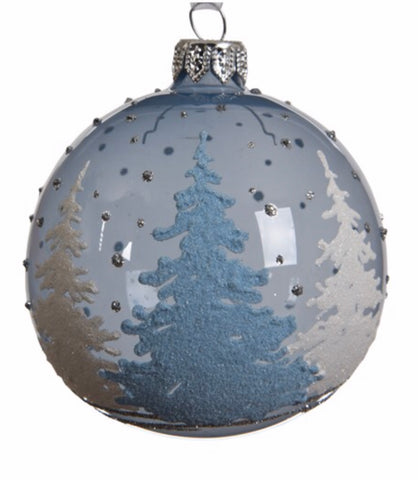 Steel Blue Tree Scene Bauble