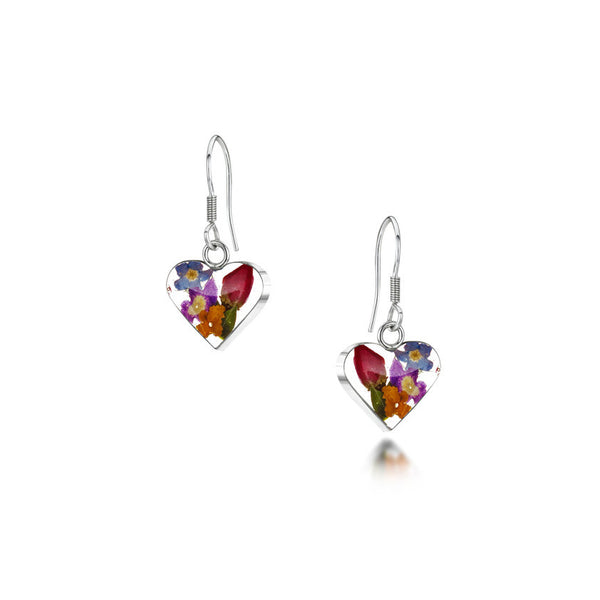Shrieking Violet Mixed Flower Drop Earrings