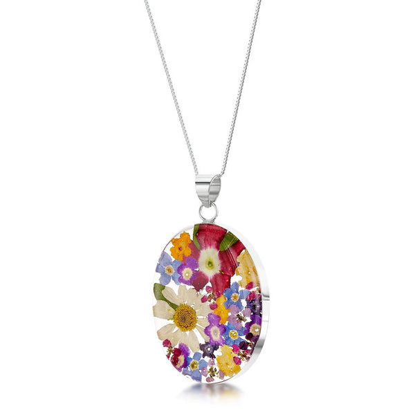 Shrieking Violet Mixed Flower Pendant Necklace - Oval