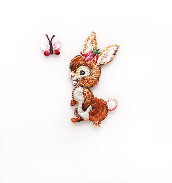 Sass & Belle Embroidered Applique Iron On - Bunny & Butterfly
