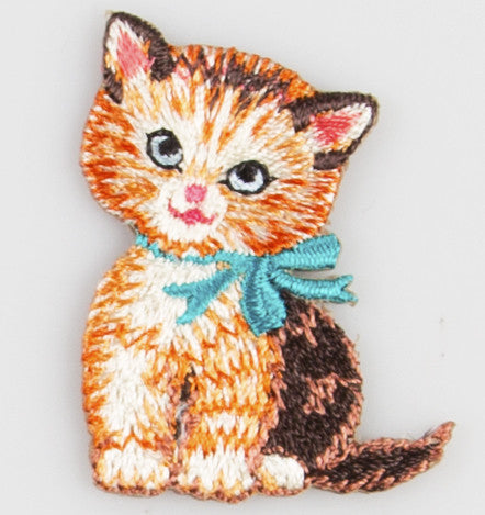 Sass & Belle Embroidered Applique Iron On - Blue Bow Retro Kitten