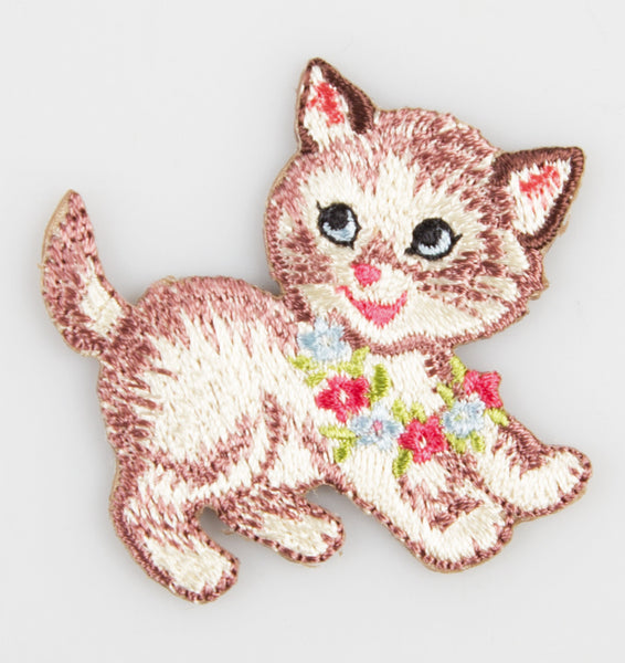 Sass & Belle Embroidered Applique Iron On - Flower Retro Kitten