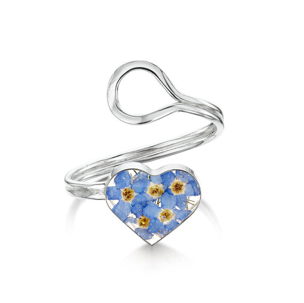Shrieking Violet Forget-Me-Not Adjustable Heart Ring