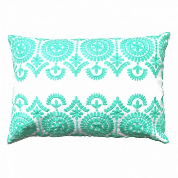 Bombay Duck Safi Embroidered Cushion - Mint