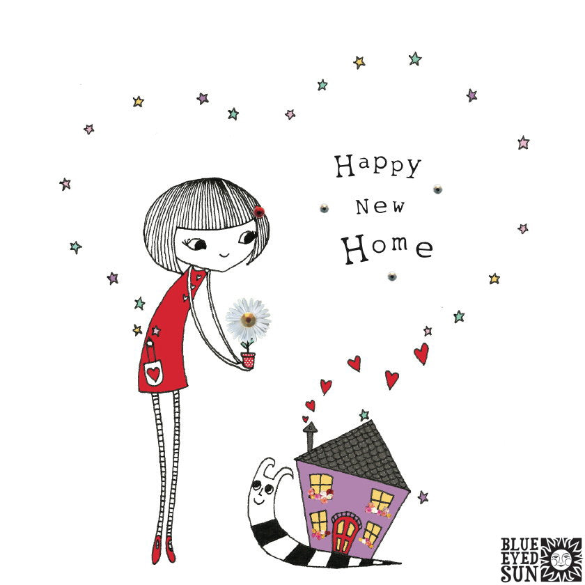 Doodle Girl Card - New Home