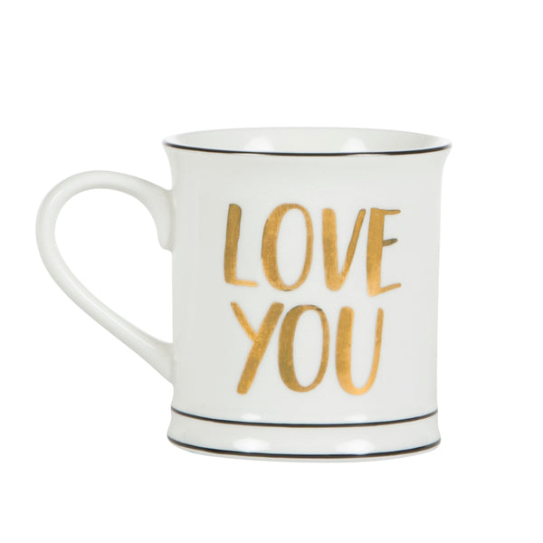 Sass & Belle Modern Monochrome Gold Love You Mug