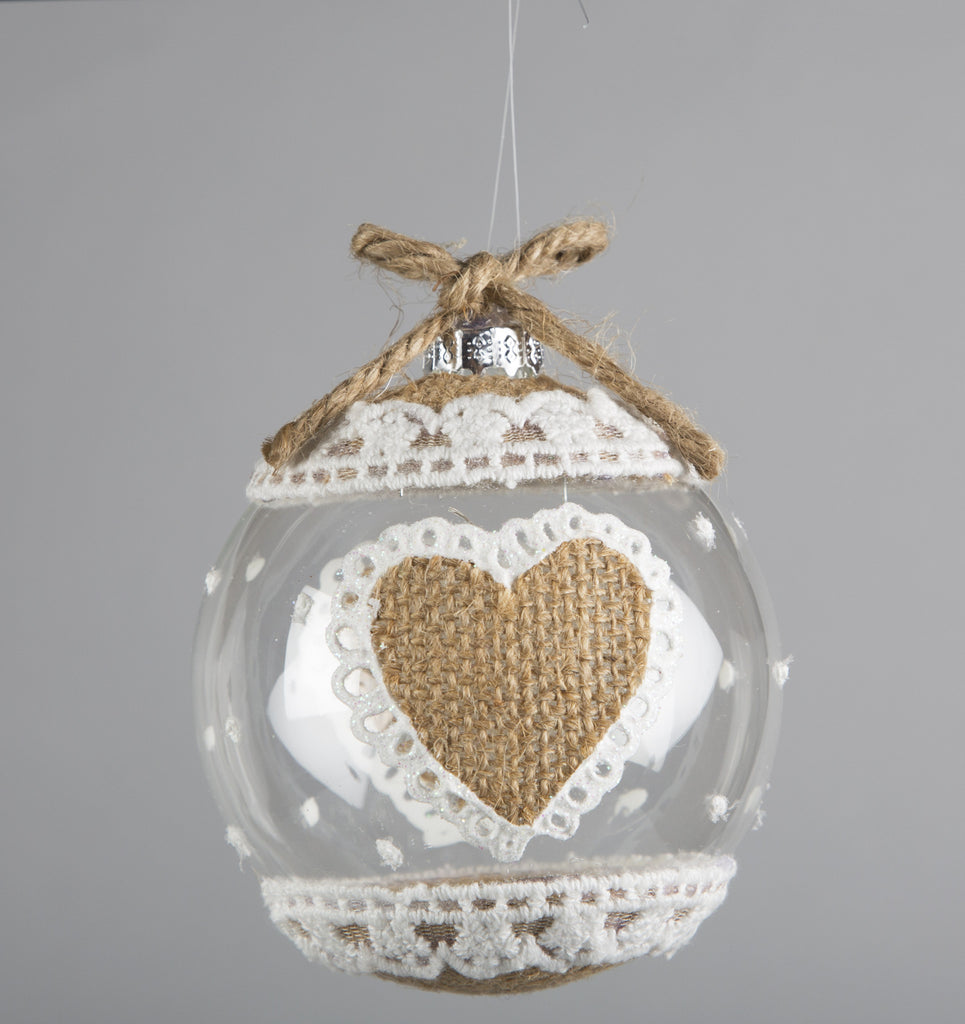 Sass & Belle Jute Heart Christmas Bauble