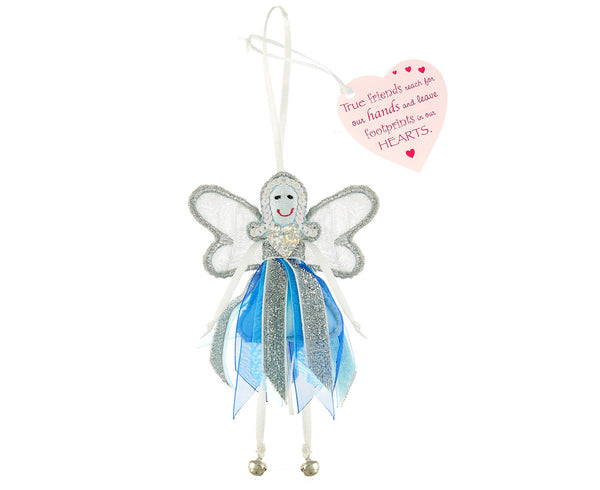 'Footprints in Our Hearts' Glitter Quote Fairy