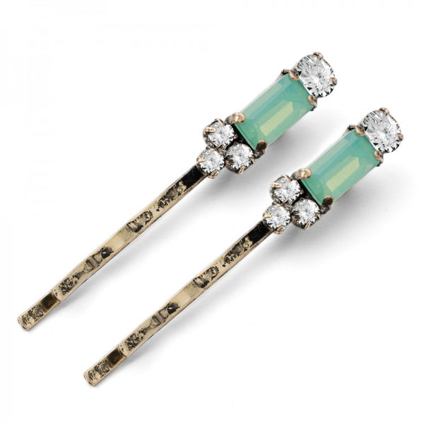 Lovett & Co Milk Stone Hairclips - Pacific Opal