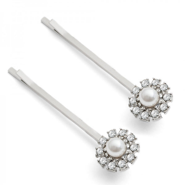 Lovett & Co Grace Hairclips - Crystal & Rhodium