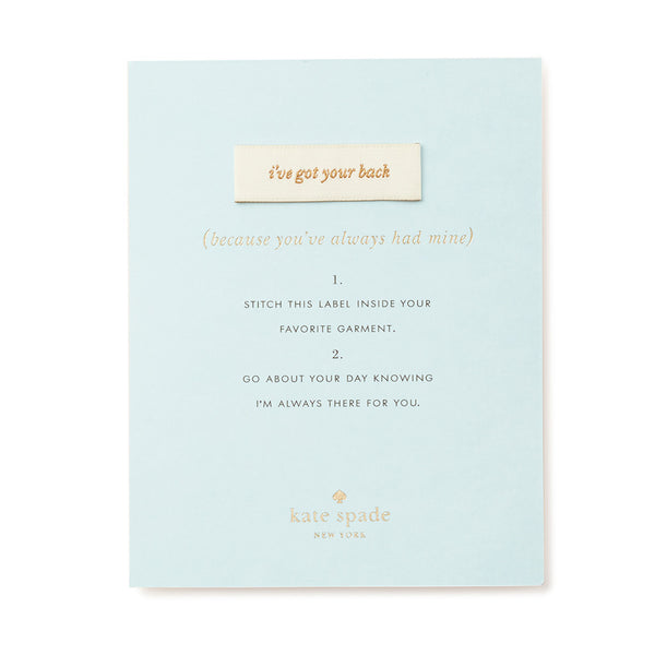 Kate Spade New York Sew In Label - I've Got Your Back