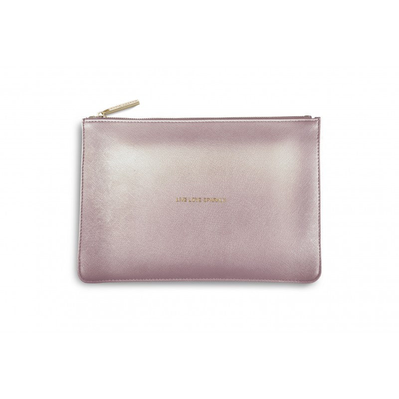 Katie Loxton Perfect Pouch - Live Love Sparkle (Metallic Pink)
