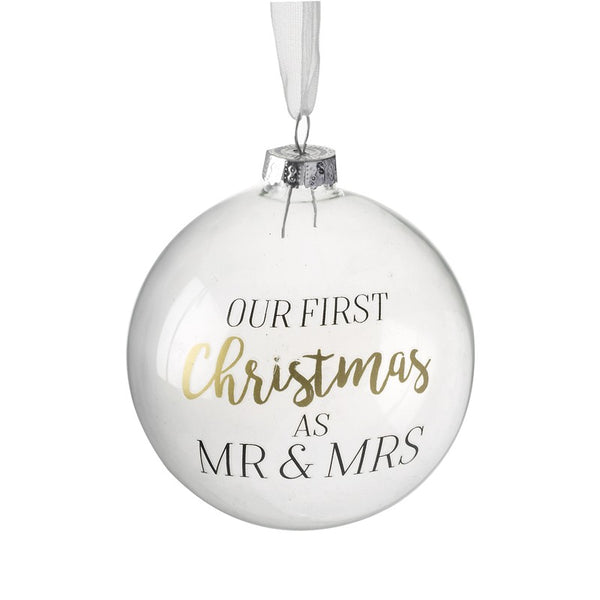 Our First Christmas As Mr & Mrs Glass Bauble